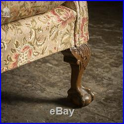 19th C Three Seater Wing Back Sofa with Ball and Claw Feet