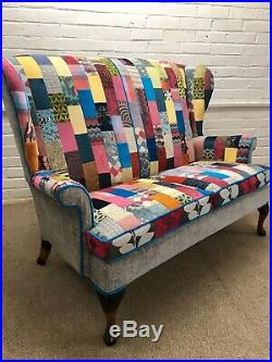 2 Parker Knoll Wing back chairs And Sofa Upholstered In Patchwork Design