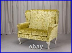 2 Seater High Back Sofa Chartreuse Fabric Wing Fireside Living Room Stud Couch