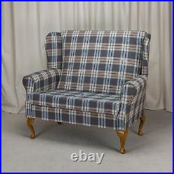 2 Seater High Back Sofa Kintyre Chambray Fabric Wing Fireside Living Room Couch