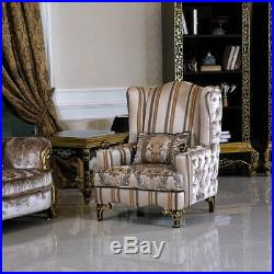 2x Wing Chair Armchair + Side Table Table Sofa Couch Chesterfield Baroque New
