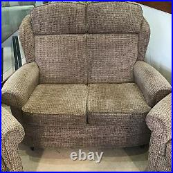 3 Piece Suite Brown & Beige Fabric Small 2 Seater Sofa 2 Chairs High Back Wings