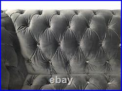 3 Seat & 2 Seater Sofas & Armchair & Wing Chair & Stool In Grey Fabric Darby