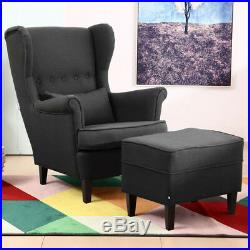 Accent Chair Button Winged Big Sofa Lounge Armchair Fabric Fire Chairs Footrest
