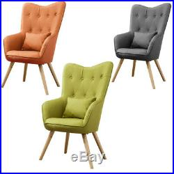 Accent Fabric Bedroom Chair Wing Back Armchair And Footstool Upholstered Sofa UK