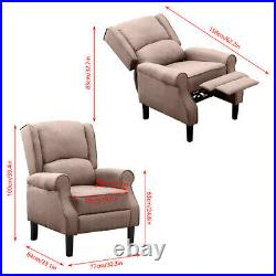 Adjustable Fabric Recliner Chair Armchair Sofa Wing Back Fireside Leisure Lounge