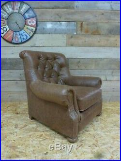 Alexander James Fable wing chair Chesterfield brown tan leather vintage retro