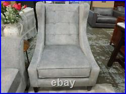 Amora 3 seater sofa & Winged accent chair grey ex showroom- £2214
