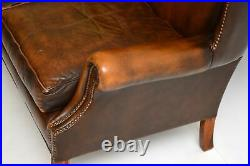 Antique Georgian Style Leather Wing Back Sofa