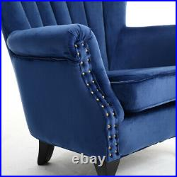 Antique Upholstered Velvet Wing Back Scallop Chair Armchair Stud Royal Blue Sofa