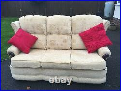 Beautiful 2 Piece Wing Back Light Beige Suite 3 Seater Sofa Settee + 1 Arm Chair