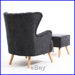 Bedroom Sofa Wing Back Fireside Fabric Lounge Armchair Tub Chair With Foot Stool