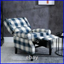 Blue Check Recliner Lounge Chair Armchair Sofa Wing Back Fabric Fireside Home