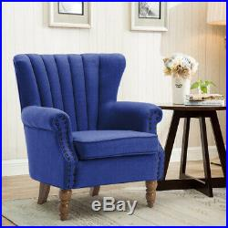 Blue Fabric Soft Armchair Wing High Back Sofa Tub Chair Lounge Cafe Living Room