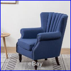 Blue Wing Back Chair Upholstered Stud Rivet Retro Armchair Queen Fabric Fireside