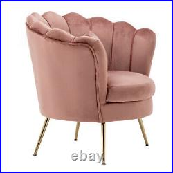 Blush Pink Velvet Armchair Scalloped Shell Wing Back Chair Accent Tub Chair Sofa