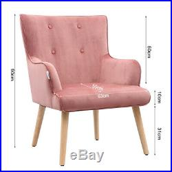 Blush Pink Velvet Armchair Wing Back Accent Button Tub Chair Living Lounge Sofa