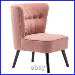 Blush Pink Velvet Cocktail Wing Back Chair Oyster Button Back Tub Armchair Sofa