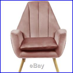 Blush Pink Velvet Occasional Wing Chair Single Seat Recliner Sofa Tub Armchair
