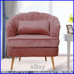 Blush Pink Velvet Tub Armchair Modern Wing Backrest Sofa Chairs with Cushion Pad