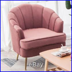 Blush Pink Wing Back Armchair Lounge Velvet Upholstery Fabric Tub Chair Sofa NEW