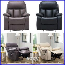 Bonded Leather Wing Back Recliner Armchair Sofa Electric Heating Massaging Chair