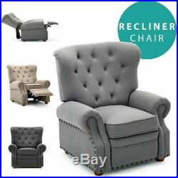 Bramton Wing Back Fabric Recliner Button Armchair Occasional Sofa Lounge Chair