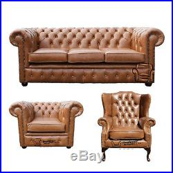 Brand New Handmade Chesterfield Genuine 100% Tan Brown Leather Sofa Suite