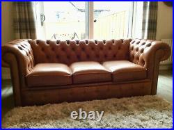 Brand New Old English Tan Leather Chesterfield Sofa & Queen Anne Wing Chair