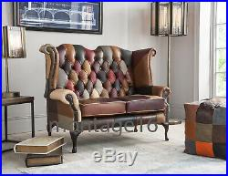 Brompton Patchwork Leather Wing Chair Armchair High Back Chesterfield Sofa