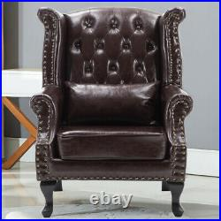 Brown Dark Leather Stud Armchair Chesterfield Wing Back Sofa Fireside Chair Seat