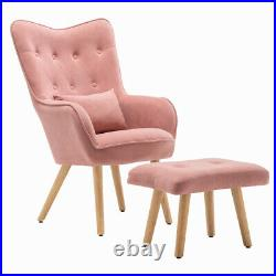 Butterfly Button High Back Chair Wing Back Armchair Living Bedroom Sofa withStool