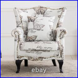 Butterfly Pattern Wing Back Sofa Chairs Large Padded Sofa Seats Living Room Sofa