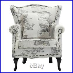 Butterfly Velvet Occasional High Back Winged Chair Armchair Sofa Wingback Seat