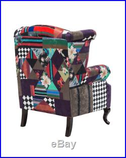 Button Back Armchair Vintage Sofa Chair High Wing Padded Seat Antique Queen Anne