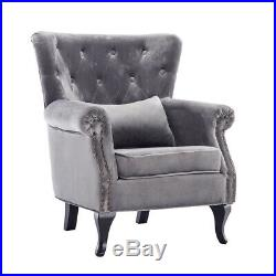 Button Velvet High Back Armchair Winged Chair Occasional Retro Sofa Seat Bedroom