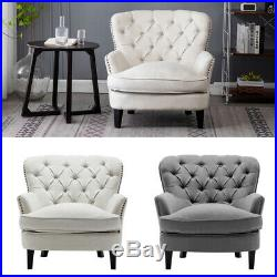 Button Velvet Studded Armchair Winged Chair Occasional Retro Sofa Seat Bedroom