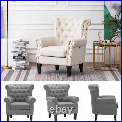 Button Wing Back Chesterfield Sofa Armchair Scallop High Back Lounge Tub Chair