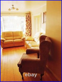 CREAM 3+2 seat sofa set. And beige colour wing chair Clean and functional