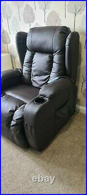 Caesar Electric Leather Auto Recliner Massage Heated Gaming Wing Sofa Chair