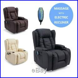 Caesar Electric Leather Auto Recliner Massage Heated Gaming Wing Sofa Chair Uk