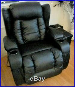 Caesar Leather Recliner Massage Heated Wing Sofa Chair