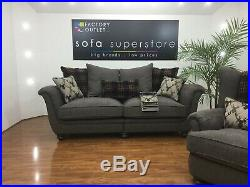Camden 3 Seater Pillowback Sofa + Matching Wing Chair in Grey Fabric