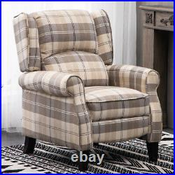 Checked Fabric Recliner Armchair Wing Back Fireside Sofa Lounger Cinemo Chair