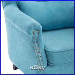Chenille Fabric Blue Chesterfield Wing Back Queen Anne Chair Armchair Sofa Seat