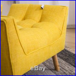 Chenille Fabric Scalloped Armchair Wing Back Chair with Footrest Stool Sofa Seat