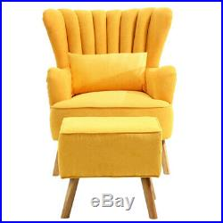Chenille Fabric Scalloped Wing Back Chair Armchair And Footrest Stool Sofa Seat