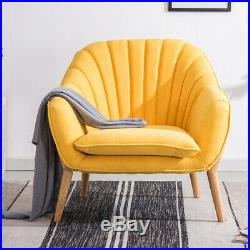Chenille Velvet Armchair Oyster Wing Back Tub Chair Yellow Living Room Sofa Seat