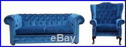 Chesterfield 2 Seater + Wing Chair Velluto Royal Blue Fabric Sofa Settee Suite