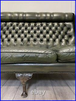 Chesterfield 3 Seater Queen Anne High Back Wing leather Sofa Chair Antique